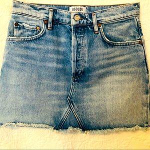 AGOLDE Quinn High Rise Distressed Mini Skirt